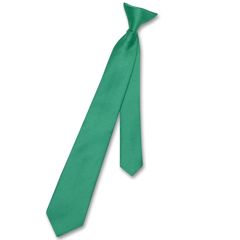 VesuvioナポリBoy 'sクリップオンネクタイソリッドエメラルドグリーン色Youth Neck Tie