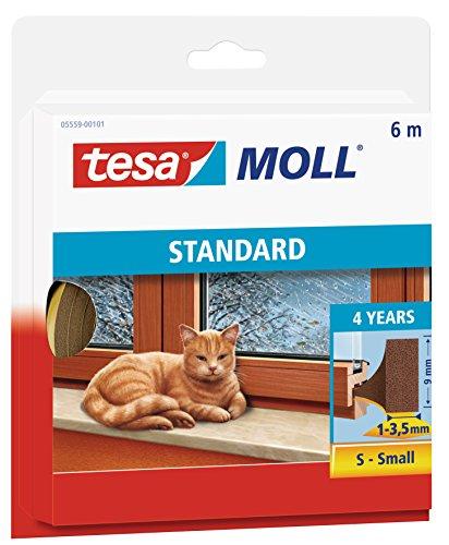 tesamoll STANDARD I-Profil - Schaumstoffdichtung zum Isolieren von Spalten im Haushalt, selbstklebend - Braun - 6 m x 9 mm x 4 mm