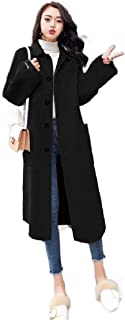 neveraway Womens Long Notched Lapel Overcoat Jacket Wool Blend Top with Belt