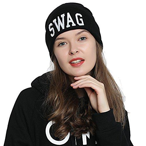 DonDon Mujer Gorro Beanie de invierno negra con Statement - SWAG