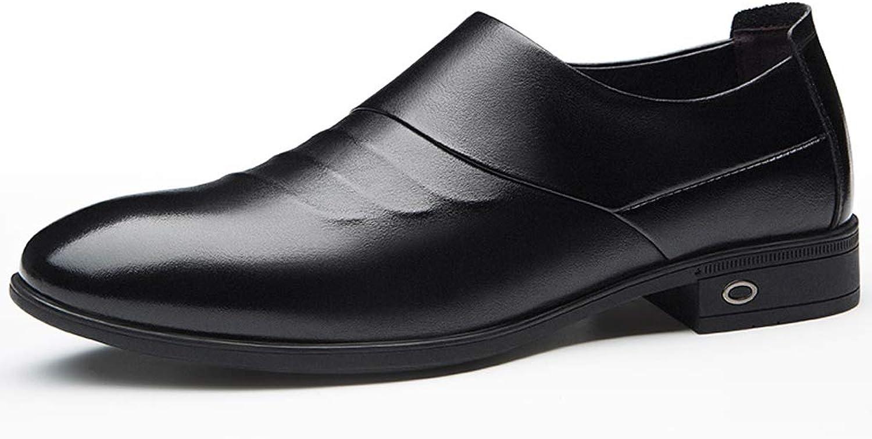 Men's shoes Autumn Men's Business Dress shoes Men's Leather Feet Men's shoes England Wind shoes Men (color   Black, Size   40)