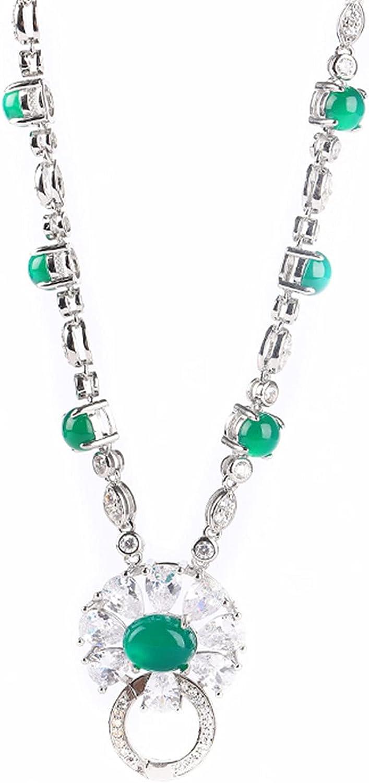 yigedan Natural Green Jade Stone Collar Necklace Ladies Fashion Accessories
