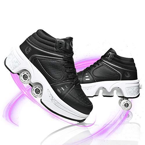 Deformables Zapatillas De Deporte Casuales Patines para Caminar Patinetas De Cuatro Ruedas Runaway Quad Skating Deportes Al Aire Libre para Adultos Niño,Negro,EU 35(US 5.5)