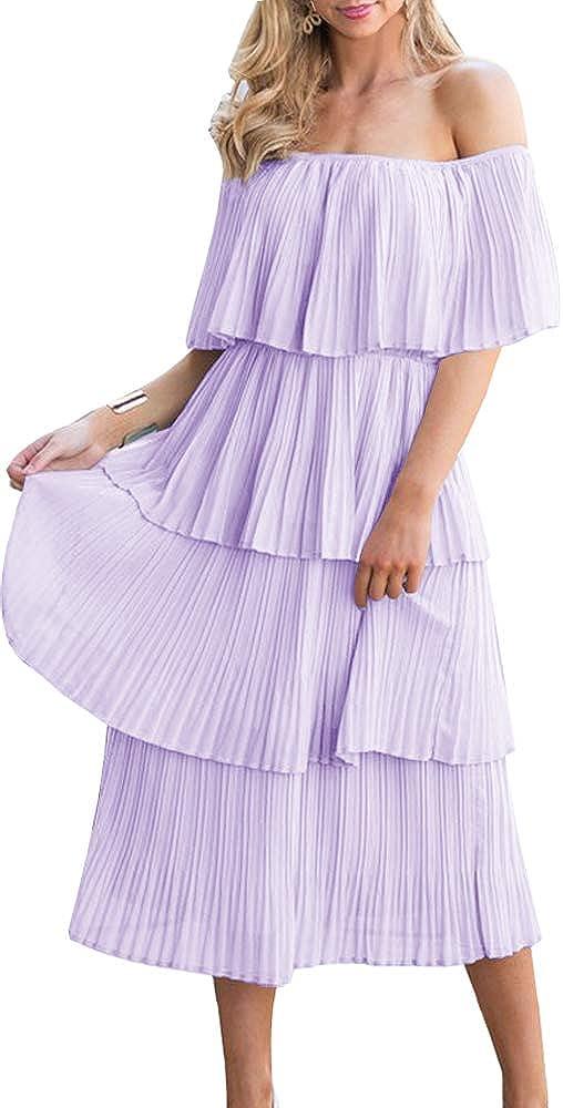 ETCYY Women's Off The Shoulder Ruffles Summer Loose Casual Chiffon Long Party Beach Maxi Dress …