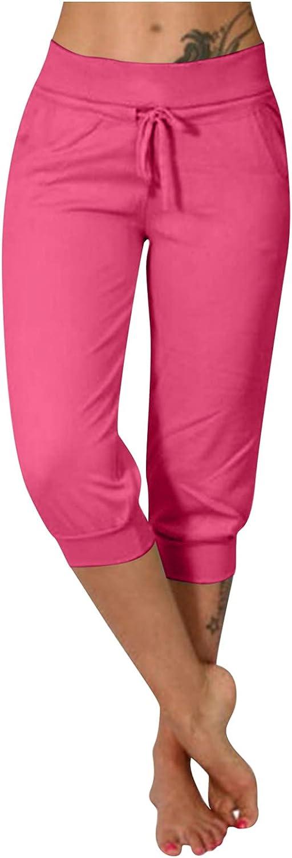 BEUU Women's French Terry Jogger Lounge Sweatpants - Active Capri Pants for Women Drawstring Elastic Waist Women Shorts