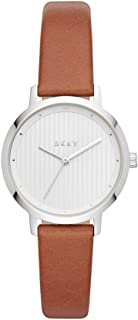 DKNY Women's The Modernist Stainless Steel Quartz Watch with Leather Strap, Brown, 14 (Model: NY2676)