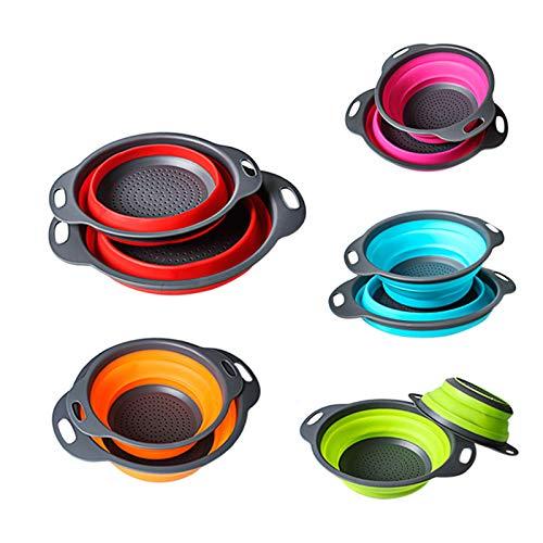 BMKJ 2 juegos de colador y colador de cocina plegable, 2 tamaños incluidos, perfecto para drenar pasta, verduras, frutas (naranja)