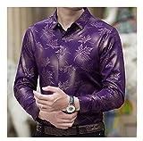 Camisetas De Hoja De Arce De Manga Larga Hombres Slim Fit Vintage Camisa De Los Hombres del Hombre Ropa De Vestir Casual (Color : Purple, Size : XL.)