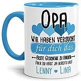 Tassendruck Geschenk Tasse mit Spruch PERSONALISIERT Opa von Enkelkindern - Kaffee-Tasse/Geschenkidee Geburtstag Vatertag/Vatertagsgeschenk - Innen & Henkel Hellblau