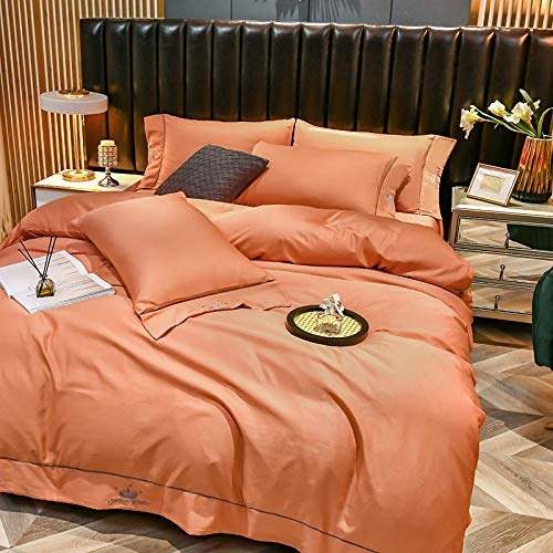 boys duvet cover single-Solid color embroidery rinseed silk four-piece high-end simulation silk is sleeve bed single bedding gift-B_2.0-meter bed four pieces
