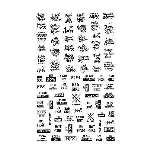 3D Nagel Sticker, Nagel Slider Zwart Goud Zilver DIY Manicure Alfabet Sticker Nagel Art Decoratie Nagel Stickers Bloemen Rusland Letter Woord F594Silver ZILVER