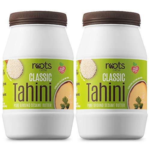 Roots Circle All-Natural Sesame Tahini Paste | 100% Pure Rich & Creamy Ground Sesame Seed Paste for Hummus, Tahini Sauce, Dressing & Dips | Vegan, Kosher | Non-GMO, Gluten & Peanut-Free (2 Jars 16 Oz)