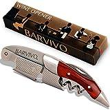 BARVIVO Cavatappi Professionale Apribottiglie Perfetto per stappare Bottiglie di Vino, Birra, per Sommelier e Bartenders di Tutto Il Mondo. Realizzato in Acciaio Inox e Legno di Pakka.