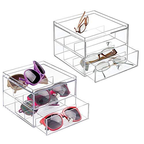 mDesign 2er-Set Aufbewahrungsbox für Brillen - die praktische 2er Schubladenbox als Brillen Ablage