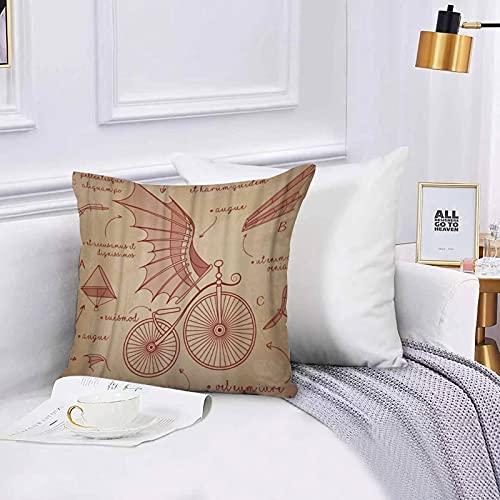 Lilatomer Funda de algodón 45 x 45 cm Diseños de bocetos de Da Vinci para Bicicletas Retro Flying Machines Sofá Throw Cojín Almohada Caso de la Cubierta para Sala de Estar 45x45cm