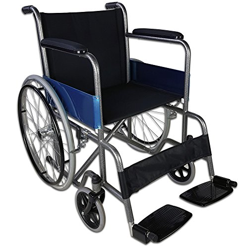 Mobiclinic, Alcázar, Silla de ruedas plegable, ortopédica, para minusválidos, freno manual, reposabrazos fijos y reposapiés abatibles, asiento, ultraligera, color negro