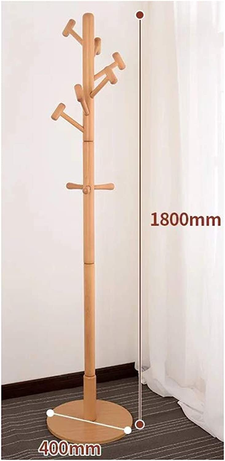 JIANFEI Home Floor-Standing Hat Coat Stand Bearing Strong Waterproof Moisture Proof Rubber Wood, 5 colors (color   Solid Wood, Size   400x400x1800mm)