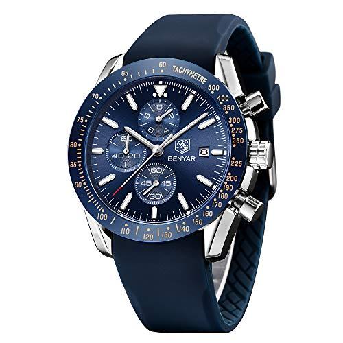 BY BENYAR Orologio Cronografo da Uomo Movimento al Quarzo Cinturino in Silicone Moda Sportivo Watch...