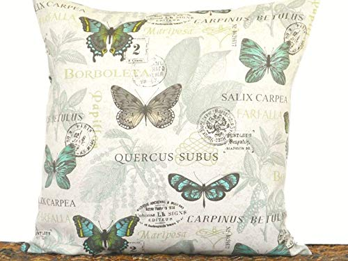 Toll2452 Butterflies Pillow Cover Cushion Botanical Script Beige Turquoise Green Sage Lime Brown Black Spring Decorative 18x18