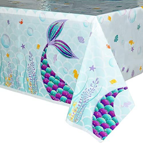 WERNNSAI Mantel del Sirena - 2 Piezas 110 x 180 CM Mantel Desechable de Plástico Impreso, Suministros para la Fiesta para Niños Chicas Boda Cumpleaños Baby Shower Decoración Partido de la Sirena