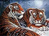 5D Diy Diamante Pintura Punto De Cruz, Decoración De Pared Colección Animales Tigre y Nieve Animal Ne -40x30cm