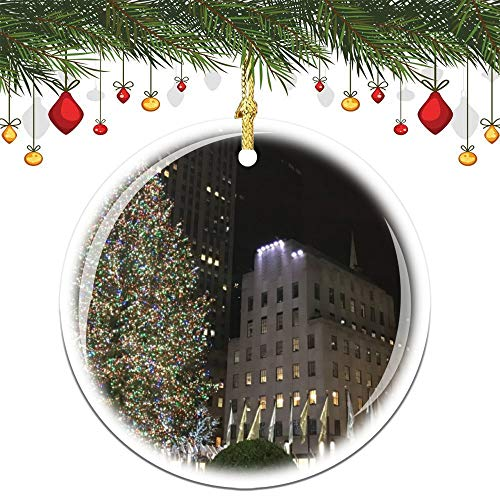 Christmas Ornaments, New York Christmas Nyc Rockefeller Center Tree Ornament Tree Hanging Decor Gift For Families Friends,3 Inch