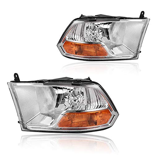 Headlights Replacement Compatible with 2009-2012 Dodge Ram 1500 2500 3500 Pickup Dual Cab Trims with Chrome Housing Clear Lens Headlamps for Passenger & Driver Side