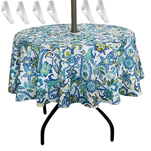 Mantel impermeable para exteriores, con cremallera y orificio para sombrilla, poliéster, Lavable A Máquina para el Restaurante del Hotel en casa, fácil de Desmontar y Limpiar (152*152cm round, 2)