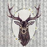 Ludwig - Tovaglioli di carta tradizionali di lusso IHR con cervi e margherite, 50,8 cm, confezione da 3 strati