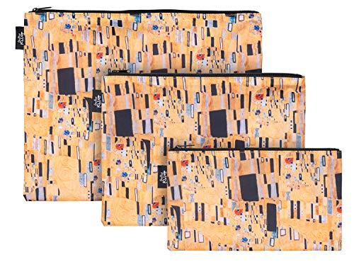 Reißverschlusstaschen für Reiseutensilien – Koffer Organizer Taschen Set 3-teilig - Kulturtasche Kosmetiktasche für Damen und Mädchen – Kleine Makeup Schminktasche (Klimt)