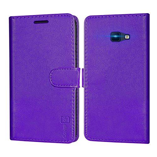 CoverON Schutzhülle für Samsung Galaxy J4 Plus, Galaxy J4 Core, Galaxy J4 Prime, RFID-blockierende Folio-PU-Leder-Handy-Tasche – Violett