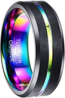 NUNCAD 8MM Men's Tungsten Carbide Ring Multi-Color Plated Grooved Black Matte Finish Beveled Edge Size 7 to 12
