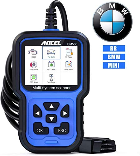 ANCEL BM500 Full System OBD2 Scanner for BMW Mini RR, Car Diagnostic Scan Tool for Engine ABS SRS TCM 4WD HVAC IMMO System, with CBS EPB ETC BMS PCM Oil Reset BMW Battery Registration