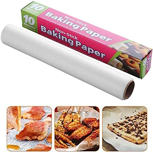 wax paper 10M Baking Parchment Available on both sides asy to tear Greaseproof for grilling,Cooking, air fryer Party Non-stick paper Roll 10 X 30cm White