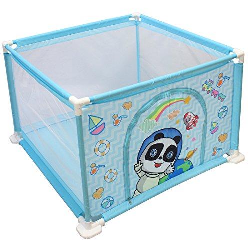 deAO Baby en peuterbox en ballenbakset voor binnenshuis met 50 ballen inbegrepen (blauw vierkant)