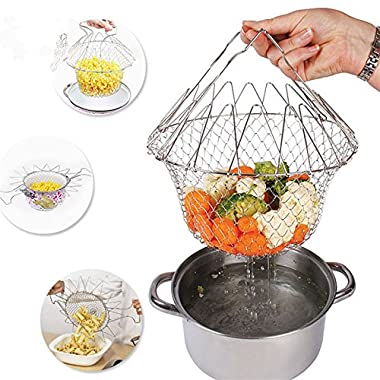 Delidge Foldable 12 in 1 Foldable Basket/Stainless Steel Steam Rinse Strain Fry Strainer Net/Magic Kitchen Cooking Tool Food/Fruits Flexible Utensil Blossom Cook Net Gadgets