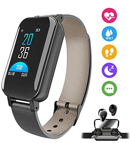 AZCSPFALB Pulsera Inteligente, Impermeable IPX5 Bluetooth 5.0 Binaural Reloj Deportivo Correa Inteligente Contador de Calorias/Monitor de Sueño/Contador de Pasos/Modos de Multi-Deporte