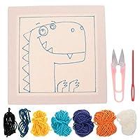 iplusmile パンチ針刺繍キット恐竜パターン初心者クロスステッチスターターキットdiyクラフト刺繍編み