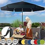 Sonnenschirm in Ø 2,5m / 3m / 3,5m - in Farbwahl, Wasserabweisender Schirmbezug, mit Krempe und Kurbel, aus Stahlrohr - Marktschirm, Gartenschirm, Terrassenschirm, Ampelschirm (Ø 2,5 m, Dunkelblau)