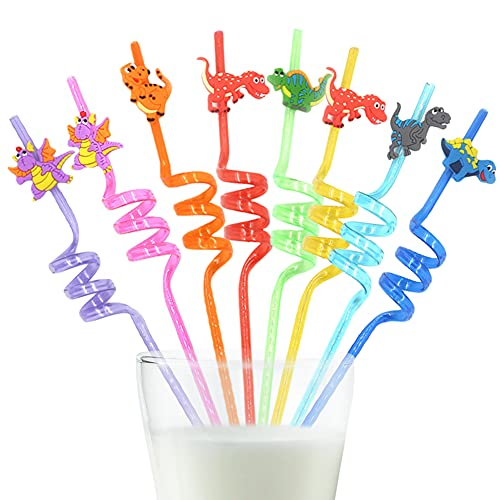 Cannucce Ricurve,BESTZY 16 Pezzi Cannucce Riutilizzabili in Plastica,Cannucce Colorate Dinosaurier, per Feste di Compleanno per Bambini, Decorazioni da Tavola per Feste di Famiglia