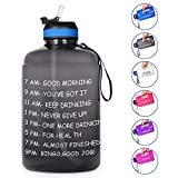 10. Opard Gallon Water Bottle with Time Marker Straw and Handle 128oz 1 Gallon Water Jug BPA Free Motivational Big Large Sports Water Bottle for Gym Fitness (Black)