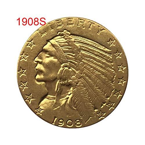 Yalatan Creative 1908/1926 Moneda Antigua Conmemorativa Antigua de EE. UU, Memoria Vintage chapada en Oro Coleccionable artesanía de Monedas Decoraciones de Recuerdo de Arte