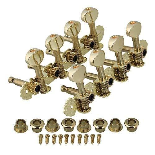 INTER FAST 2 Stück Gold-Mandoline Mechaniken Tuning Pegs Metallknopf-Set