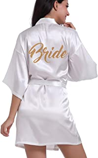 SYLYLJ Women's Kimono Short Robe for Bride & Bridesmaid Wedding Party Getting Ready Robes with Gold Glitter