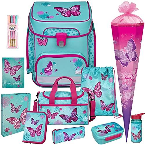 Butterfly - Schmetterling - SCOOLI Undercover EasyFit Schulranzen-Set 12tlg. mit Sporttasche, SCHULTÜTE, BROTDOSE, TRINKFLASCHE und HEFTBOX A4 - HAUSAUFGABENHEFT und GELSTIFTE GRATIS