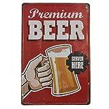 Chapa Vintage de Cerveza [con Relieve y Autocolgable]. Placa Decorativa de Pared Retro de 20x30 cm. (Premium Beer)