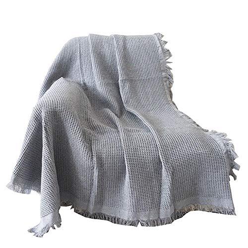 FUMT 1 Piezas Tejidas Manta,Súper Suave Color Sólido Cubierta Protectora De Muebles,con Tassel Mantas De Punto,Lavable,para Cama Sofá-A 230 * 275cm