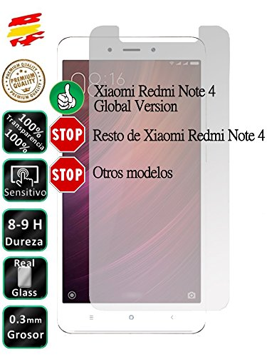 Movilrey Protector para Xiaomi Note 4 Global Version Cristal Templado de Pantalla Vidrio 9H para movil