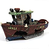 MJSHA Paisajismo Creativo del Acuario, Adornos artesanales de Resina, Refugio hundido del Barco de Pesca, Paisaje de la decoración del Tanque de Peces (Green)