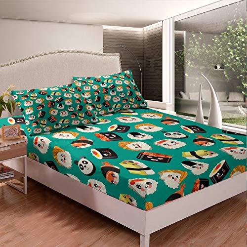 Juego de sábanas de estilo japonés para niños y niñas, juego de sábanas de sushi de dibujos animados con 2 fundas de almohada de 3 piezas de ropa de cama doble
